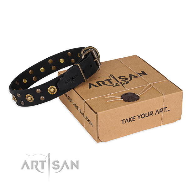 Strong fittings on genuine leather collar for your handsome dog