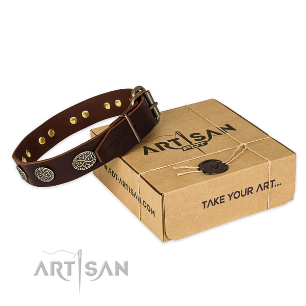 Strong fittings on full grain genuine leather collar for your handsome pet
