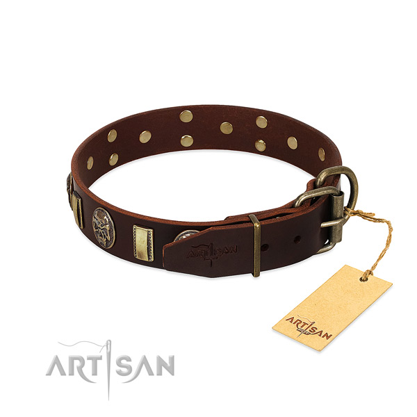 Natural genuine leather dog collar with durable hardware and adornments