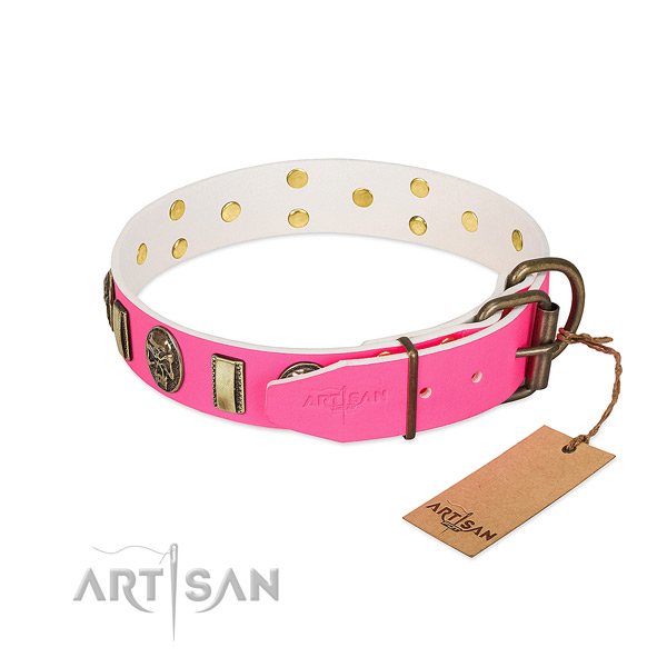 Reliable fittings on natural genuine leather dog collar for your doggie