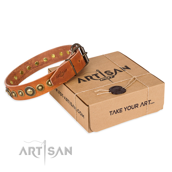 Durable genuine leather dog collar handmade for daily walking