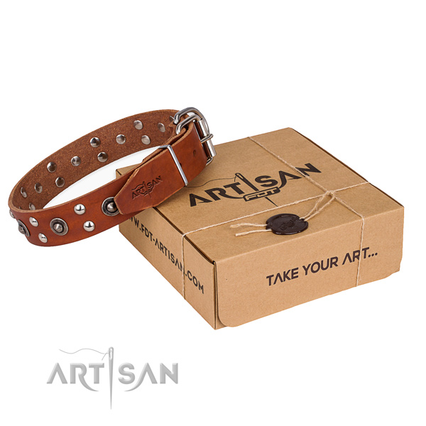 Durable fittings on genuine leather collar for your attractive doggie