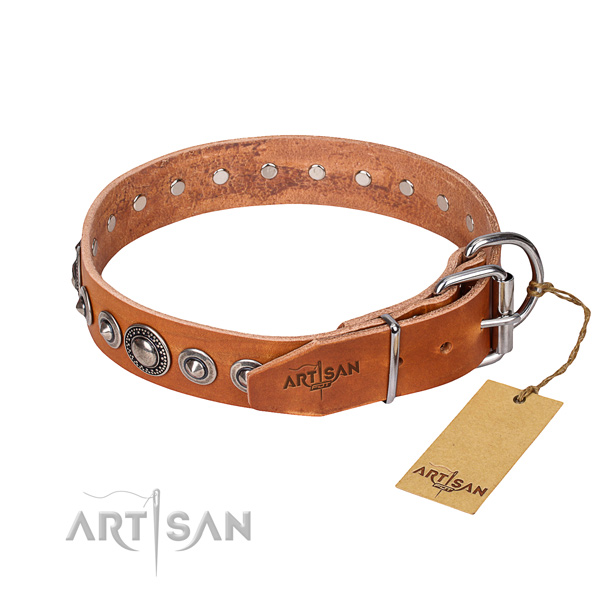 Full grain natural leather dog collar made of soft material with strong embellishments