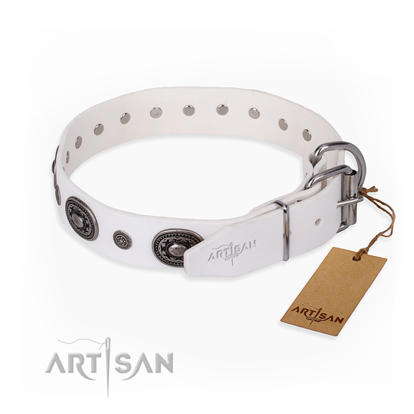 Soft to touch full grain leather dog collar crafted for comfy wearing
