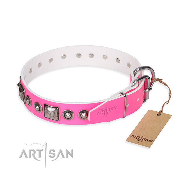 Reliable natural genuine leather dog collar handmade for daily use