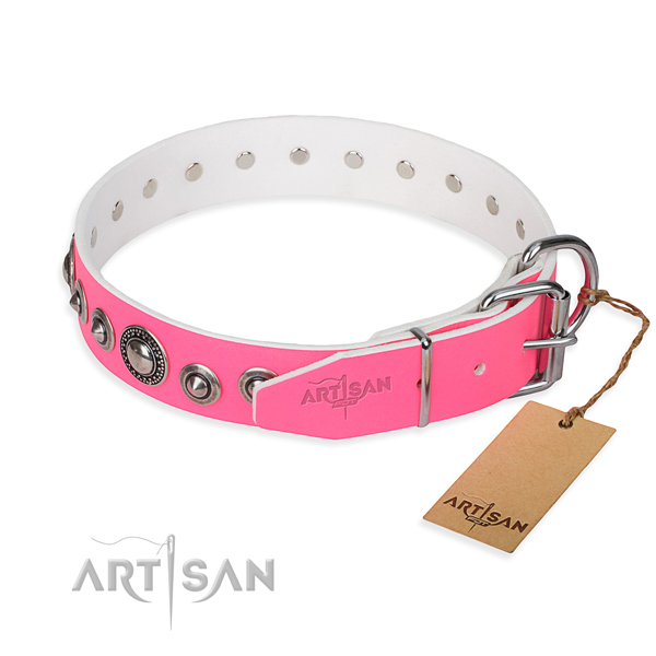 Leather dog collar made of best quality material with strong decorations