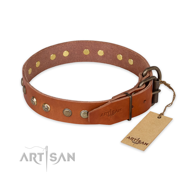 Rust-proof buckle on natural genuine leather collar for your beautiful four-legged friend