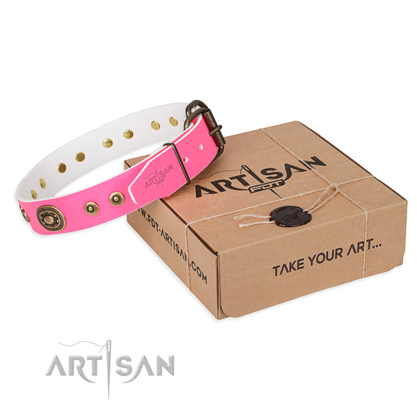 Full grain genuine leather dog collar made of reliable material with reliable hardware