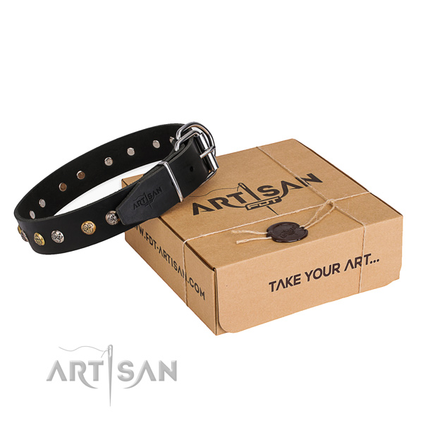 Soft to touch leather dog collar handcrafted for everyday walking