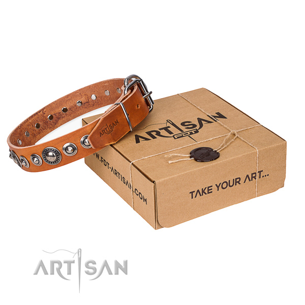 Genuine leather dog collar made of top rate material with corrosion proof buckle