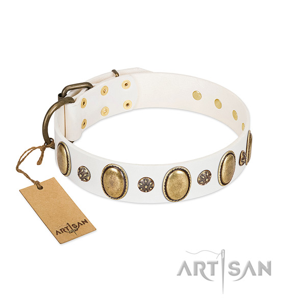 Comfortable wearing soft to touch natural genuine leather dog collar with studs