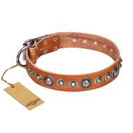 """Daily Chic"" FDT Artisan Tan Leather German Shepherd Collar with Decorations"
