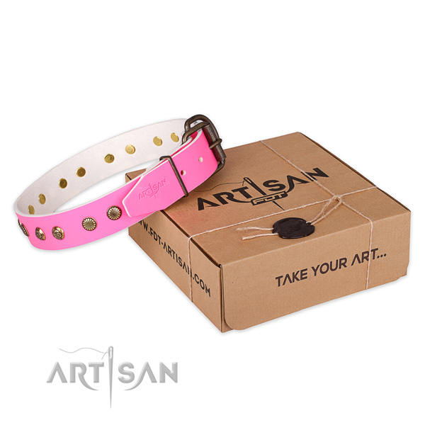 Reliable traditional buckle on full grain leather collar for your lovely doggie