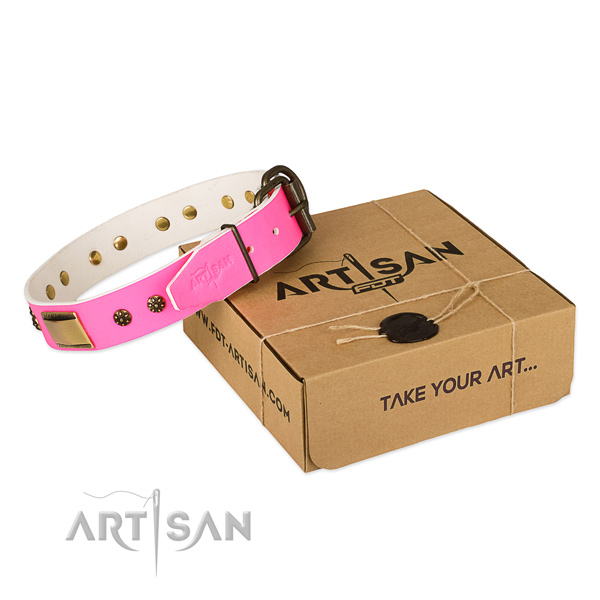 Easy adjustable full grain leather collar for your beautiful doggie