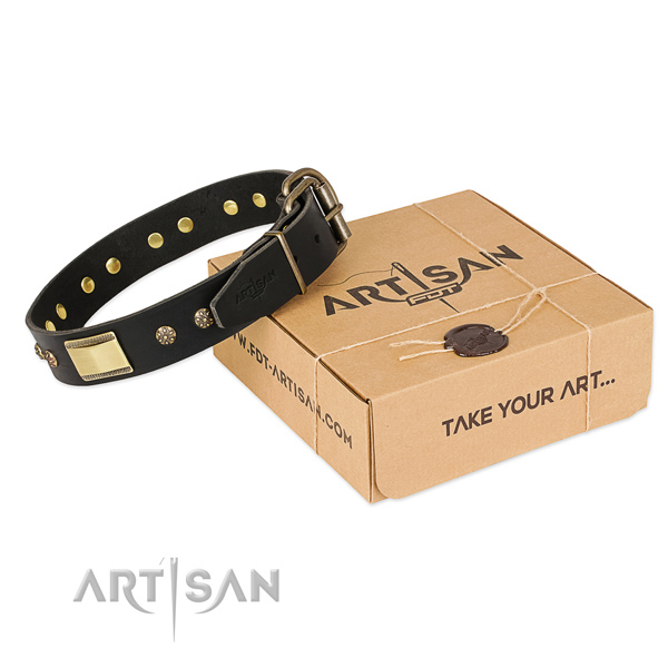 Remarkable full grain genuine leather collar for your beautiful canine