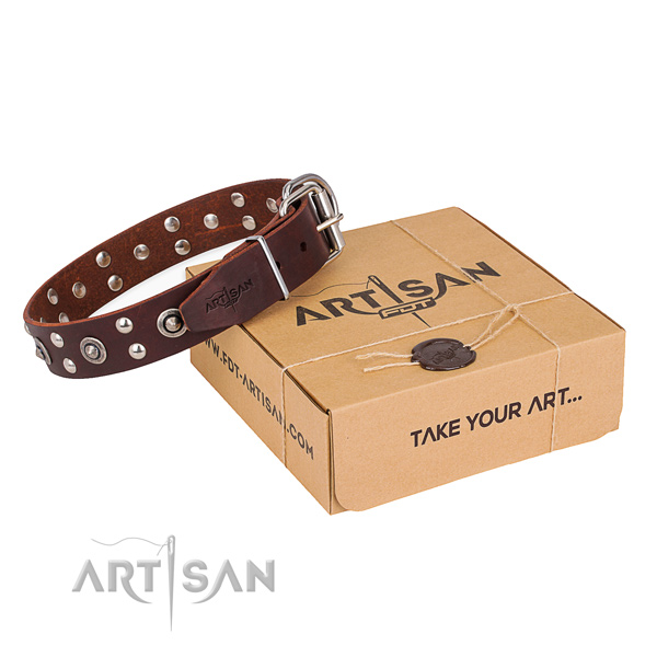 Rust resistant hardware on genuine leather collar for your attractive canine