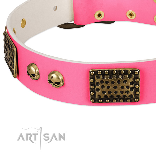 Rust resistant fittings on leather dog collar for your dog