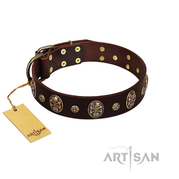 Convenient full grain natural leather collar for your pet