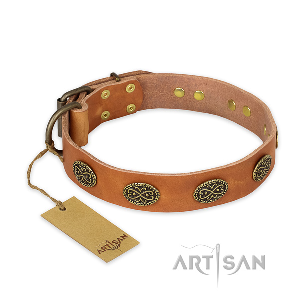Fine quality full grain genuine leather dog collar with rust-proof D-ring