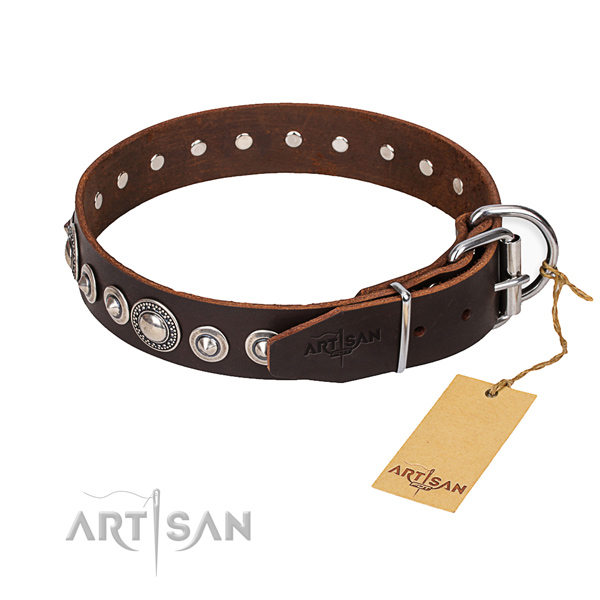 Leather dog collar made of high quality material with corrosion resistant hardware