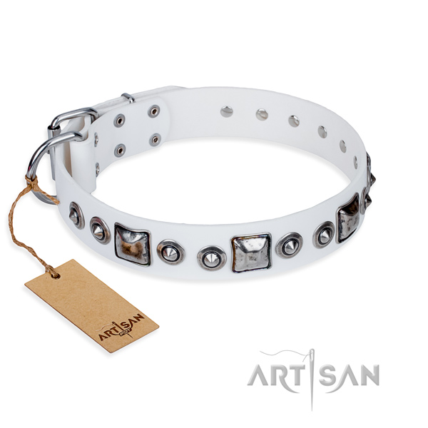 Full grain leather dog collar made of soft to touch material with rust-proof traditional buckle
