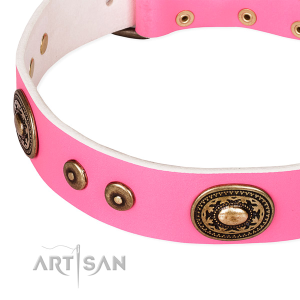 Full grain genuine leather dog collar made of best quality material with embellishments
