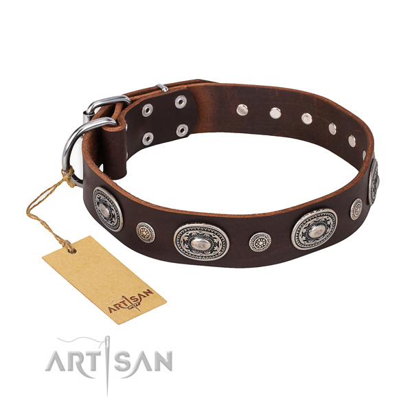 Top rate leather collar crafted for your doggie