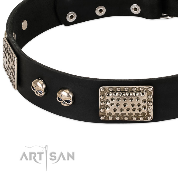Durable traditional buckle on full grain leather dog collar for your doggie