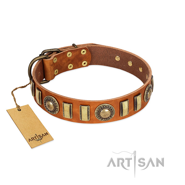 Top rate full grain genuine leather dog collar with strong traditional buckle