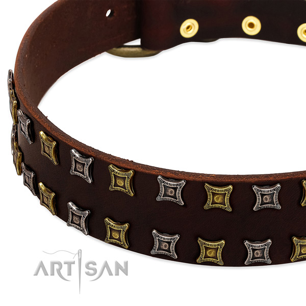 Strong full grain natural leather dog collar for your attractive doggie