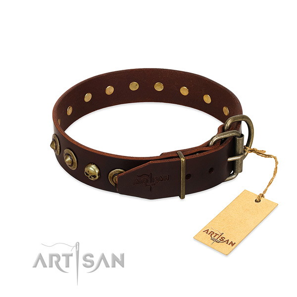 Natural leather collar with fashionable decorations for your canine