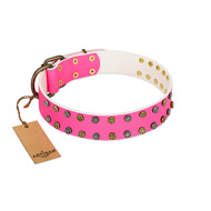 """Blushing Star"" FDT Artisan Pink Leather German Shepherd Collar with Two Rows of Small Studs"