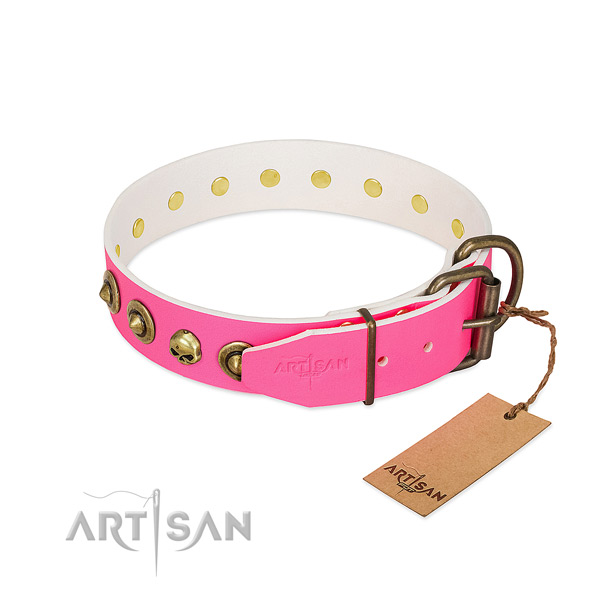 Full grain natural leather collar with inimitable studs for your canine