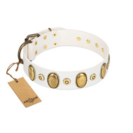 """Pearly Grace"" FDT Artisan White Leather German Shepherd Collar with Engraved Ovals and Small Dotted Studs"