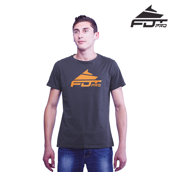 High Quality Cotton Professional Men T-shirt Dark Grey Color