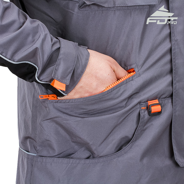 Grey Professional Design Dog Tracking Jacket with Strong Side Pockets