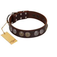 """Treasure Hunter"" FDT Artisan Brown Leather German Shepherd Collar with Old-Bronze-like and Silvery Medallions"