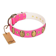 """Drawing Power"" FDT Artisan Pink Leather German Shepherd Collar with Engraved Ovals and Dotted Studs"