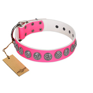"""Pink Garden"" Designer FDT Artisan Pink Leather German Shepherd Collar for Stylish Look"