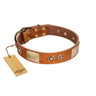 """Perfect Blend"" FDT Artisan Tan Leather German Shepherd Collar 1 1/2 inch (40 mm) wide"