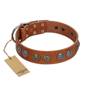 """Luxurious Life"" Premium Quality FDT Artisan Tan Leather German Shepherd Collar with Round Adornments"