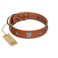 """Lucky Star"" FDT Artisan Tan Leather German Shepherd Collar with Silver-Like Embellishments"