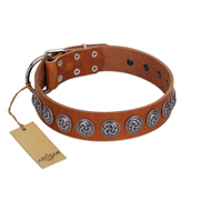 """Velvet Kiss"" Handmade FDT Artisan Tan Leather German Shepherd Collar with Vintage Medallions"