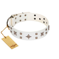"""Starry Heaven"" Designer Handcrafted FDT Artisan White Leather German Shepherd Collar with Stars and Studs"