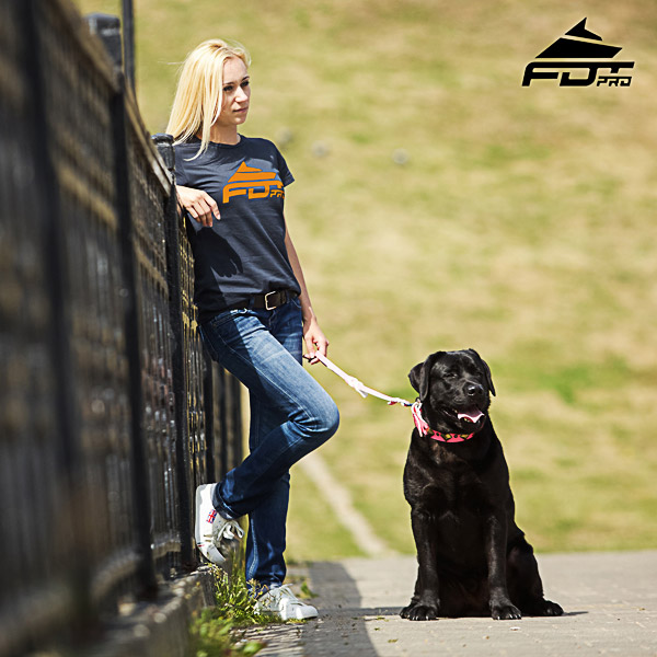 Dog Walking Women T-shirt of Top Notch Cotton