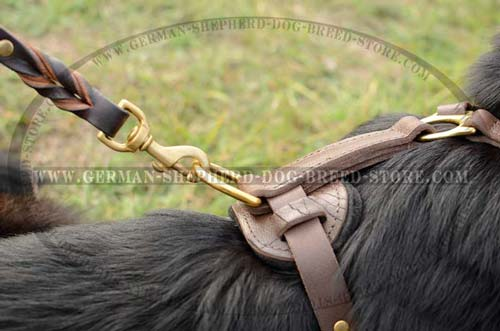 Leather German Shepherd Harness with Ring