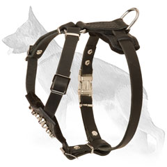 Handmade Leather German Shepherd Puppy Harness with Nickel Plates Studs