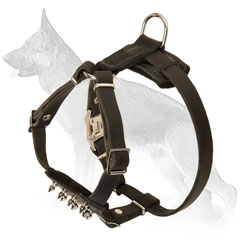 Ergonomic Spiked Leather German Shepherd Harness for Puppies