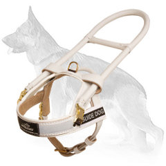 Guide White Leather German Shepherd Harness with Long Metal Handle