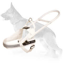 White Nylon Guide German Shepherd Harness for Any Weather